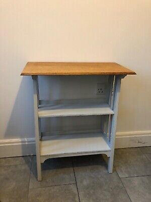Antique Vintage Oak Hall Console Telephone Table Bookcase Shabby Chic upcycled