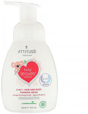 ATTITUDE, Baby Leaves Science, 2-In-1 Hair and Body Foaming Wash, Orange 10 fl