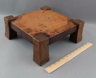 Antique American Arts & Crafts Gustav Stickley Oak & Leather  Foot Stool, NR