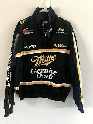 Rare Vintage Mid-90s NASCAR Rusty Wallace Miller Draft Authentic Jacket Sz Large