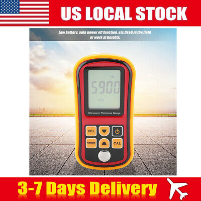 LCD Digital Ultrasonic Thickness Gauge Width Depth Measurement Tester 1.2~220mm