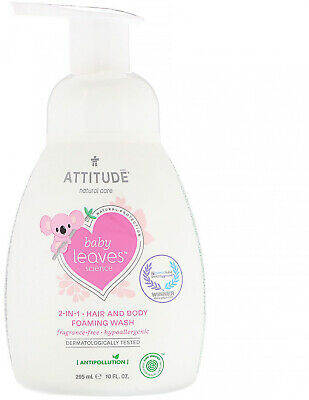 ATTITUDE, Baby Leaves Science, 2-In-1 Hair and Body Foaming Wash, 10 fl oz (295