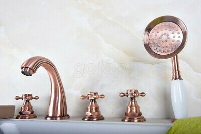 Red Copper Antique Cross Handles Roman Bathroom Tub Faucet W/ Hand Shower Tap