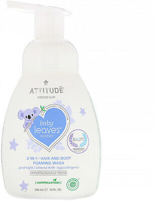 ATTITUDE, Baby Leaves Science, 2-In-1 Hair and Body Foaming Wash, Good Night 10