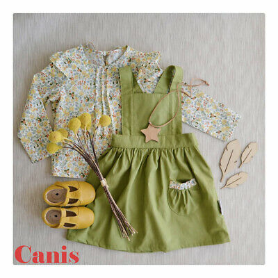 AU Toddler Kids Baby Girl Floral Tops Shirt Suspender Skirt Dress Outfit Clothes