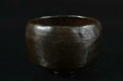 S1968: Japanese Old Raku-ware Black glaze TEA BOWL Green tea tool Tea Ceremony