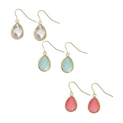 fbfa953b4b878 NWT CLAIRE'S GIRLS set of 3 Pillowed Teardrop Gem Drop Earrings set 3 Pack