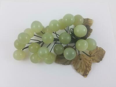 JADE Polished Gemstone Round Grapes Vintage Fruit Bunch Art Sculpture