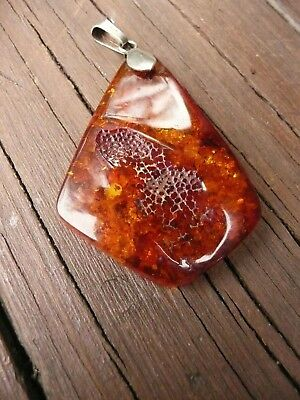 Art Deco Hand Made Sterling Silver Bale, Baltic Amber Flat Shape Pendant