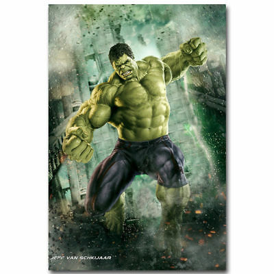 0183D Hot Hulk The Avengers Marvel Superheroes Movie-Print Art Silk Poster