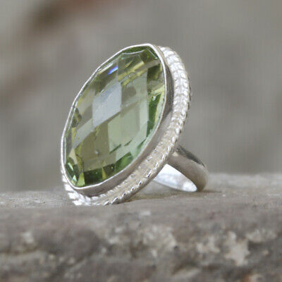 Marquise Faceted Prasiolite Gemstone 925 Sterling Silver Artisan Ring Jewelry