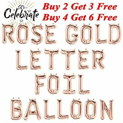 "Rose Gold 16"" Alphabet Letter & Number Foil Balloons  Personalised NAME PARTY"