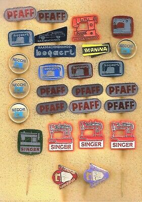 !! 27 old badges from sewing machines : Pfaff Singer Bogaert Bernina Necchi etc