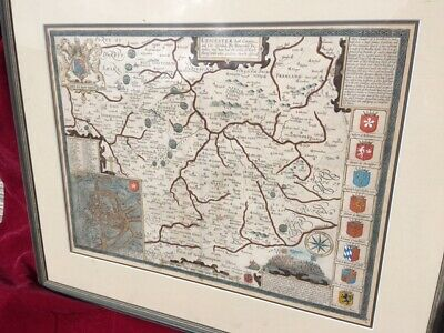 Antique map of Leicester Circa 1800 framed and glazed