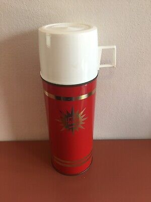 Vintage Retro Thermos Flask 'Holiday' 1950's 1960's 1970's?? Cup Top 0.45 Litres