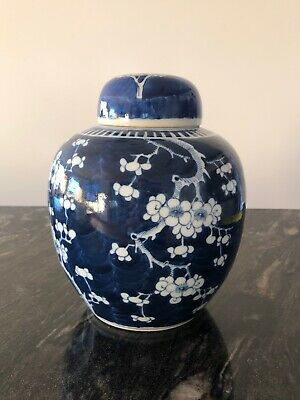 Chinese Porcelain Ginger Jar Hand Painted Prunus Blue and White China 9""