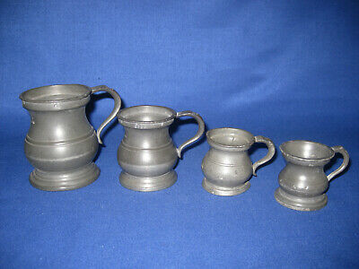 Four Antique Victorian Pewter Tankards with V.R / Quartern / Gill / Other marks.