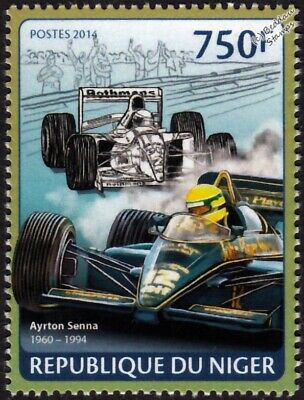 AYRTON SENNA Formula One F1 Racing Driver & Lotus 98T Car Stamp (2014 Niger)