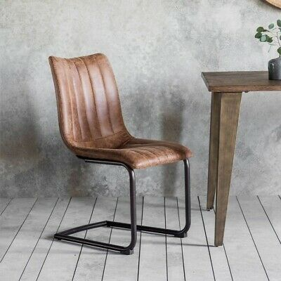 Frank Hudson Gallery Direct Edington Faux Leather Dining Chair (Pair) - Brown