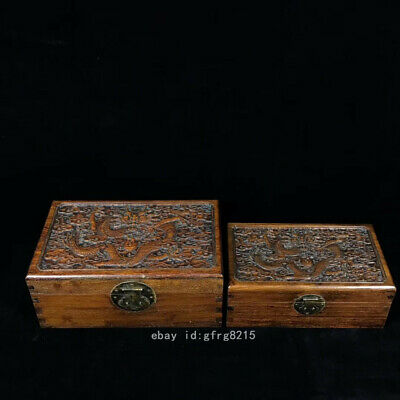 """12"""" old China Huanghuali wood Dragon pattern Jewelry container Set of boxes"""