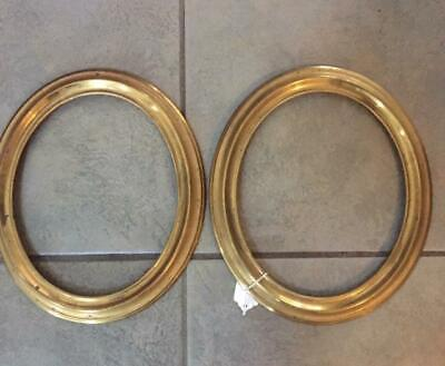 """Antique Pair of Brass Frames Oval 7 1/4"""" x 9""""- Free Shipping!"""