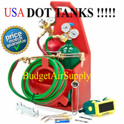 HVAC Portable Welding Torch Kit OXYGEN ACETYLENE with tote USA DOT Tanks
