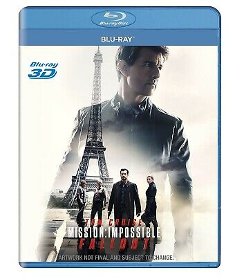 Mission Impossible Fallout 3D Blu Ray DISC ONLY ! Region Free - English - Rare !
