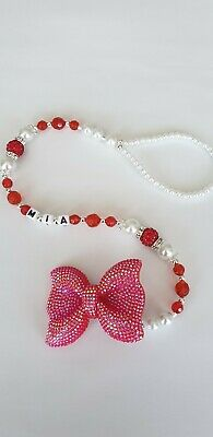 Bling personalised  dummy clip White and Red sparkly  bow Shamballa Romany Bling