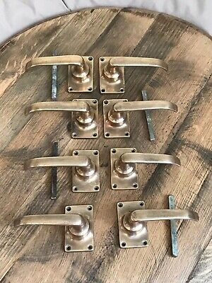 1 Pair of Edwardian Solid Brass Spring Door Handles Vintage Hardware C/W Spindle