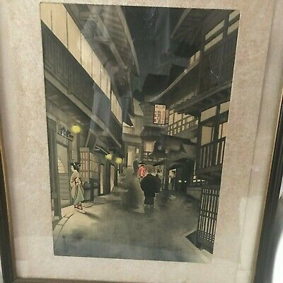 Framed JAPANESE WOODBLOCK PRINT STREET SCENE SIGNED