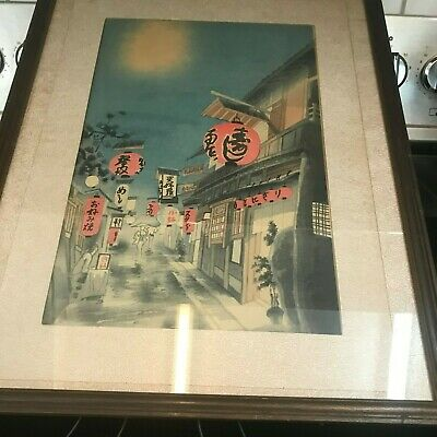 Framed JAPANESE WOODBLOCK PRINT STREET SCENE Night Red Lanterns SIGNED