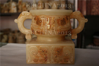 "10"" Collect China Old White Jade Stone Handcarved Teapot Wine Apparatus Statue"