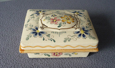 Antique Butter Dish - Floral decorated - not marked - good condition!