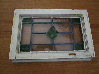 Art deco British leaded light stained glass window sash fanlight.