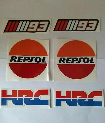 HRC Honda Racing Marc Marquez Repsol 93 Stickers Set X 6 + Keyring, Keyfob Set