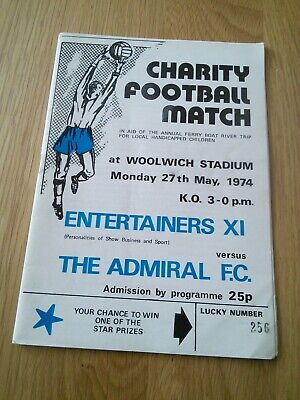 Charity football programme entertainers X1 versus the Admiral f c