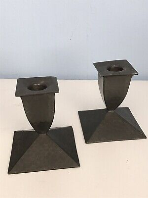 Arts and Crafts Pair Pewter Planished Candlesticks