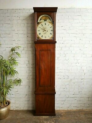 Antique Georgian R Roskell Liverpool 8 Day Moon Phase Longcase Grandfather Clock