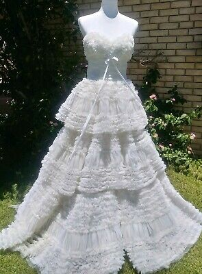 Vintage 50s 40s White Tulle organza Ruffles Wedding Prom Dress S M 4 6 Strapless