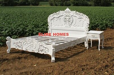 BESPOKE Double or King size WHITE Black shabby Cream French ROCOCO Bed chic wood