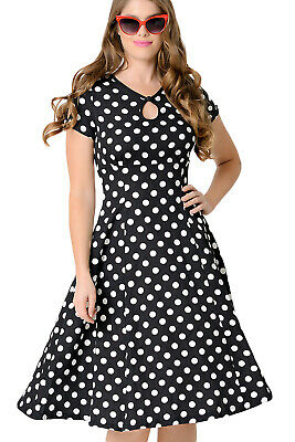 Dress Black with Points White Year 50 Retro Vintage, Pinup, Swing