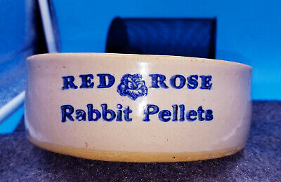 Rare!!! Red Rose Rabbit Pellets Stoneware Advertisement Feeder Zanesville? Mint!