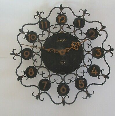 Shabby Chic Vintage Mid Century Junghans Iron Wall Clock Wind Up with Key Works