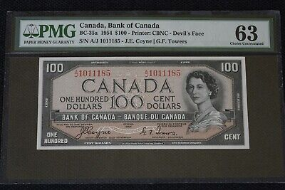 "Bank of Canada $100 1954 BC-35a ""Devils Face"" PMG 63 Choice Unc"