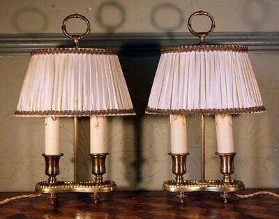 PAIR VINTAGE French Gilt Brass Bouillotte Table Lamps Double Light & Shades WOW!