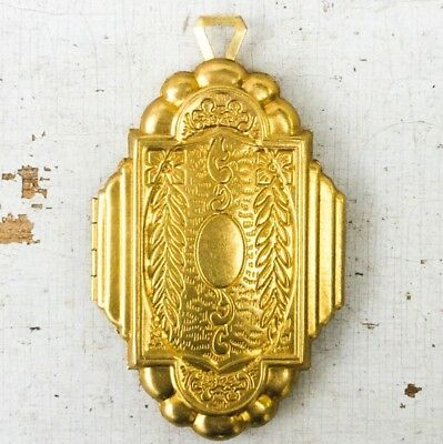 vtg Locket Large Art Deco Nouveau Ornate pendant antique gold aesthetic repro