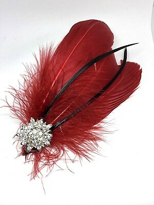 Silver Red & Silver Feather Fascinator Headpiece Diamante Hair Clip Vintage