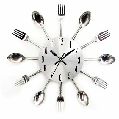 3D Cutlery Large Kitchen Tableware Metal Living Room Spoon Unique Wall Clock