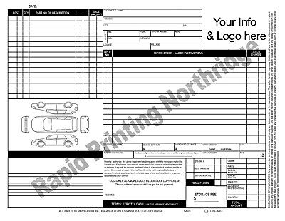 Mechanical Invoice Repair Order Form NCR Forms Sets