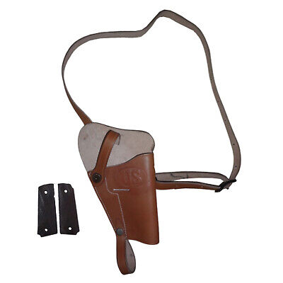 US WWII M3 Brown Leather Shoulder Holster w/1911 .45 Wood Grip - Reproductio dN6